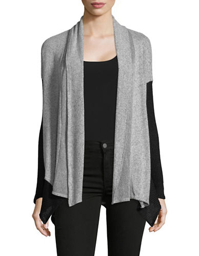 Design Lab Lord & Taylor Brushed Contrast Open Front Cardigan-GREY-Medium