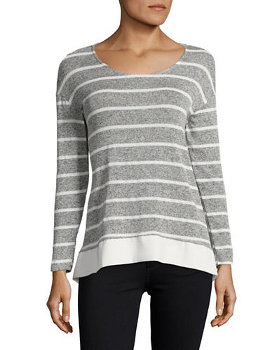 Design Lab Lord & Taylor Striped Combo Sharkbite Top-GREY-Large 89000875_GREY_Large