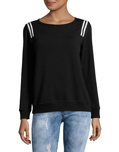 Design Lab Lord & Taylor Stripe-Accented Knit Pullover-BLACK-Large 89000891_BLACK_Large