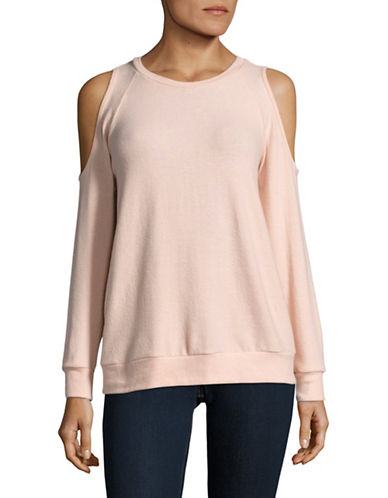 Design Lab Lord & Taylor Cold-Shoulder Crewneck Tee-PINK-Small 89000897_PINK_Small