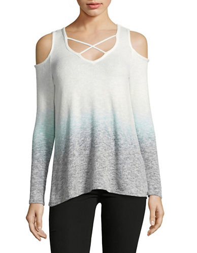 Design Lab Lord & Taylor Cold-Shoulder Ombre Top-WHITE-Medium 89126232_WHITE_Medium