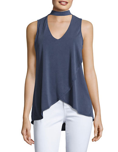 Design Lab Lord & Taylor Choker V-Neck Crossover Tank Top-BLUE-X-Small 89126222_BLUE_X-Small