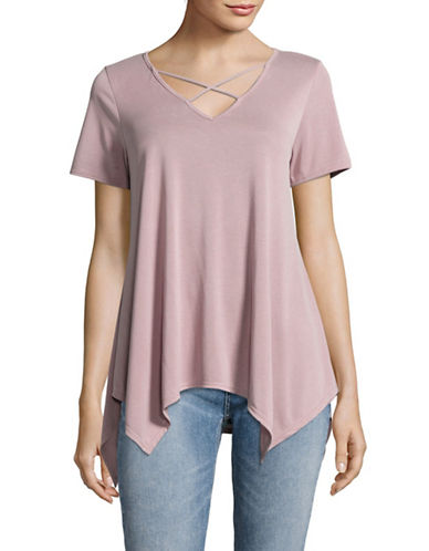Design Lab Lord & Taylor Cross-Strap T-Shirt-PINK-Small 89240122_PINK_Small