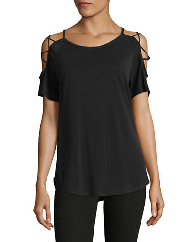 Design Lab Lord & Taylor Lattice Sleeve Tee-CHARCOAL-Small