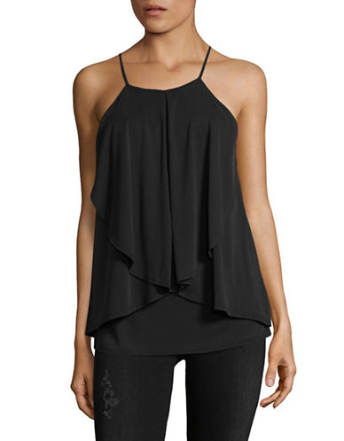 Design Lab Lord & Taylor Flounce Tank-CHARCOAL-X-Small