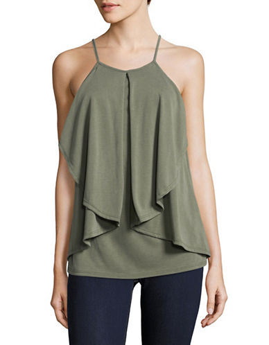 Design Lab Lord & Taylor Flounce Tank-GREEN-X-Small