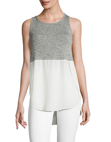 Design Lab Lord & Taylor Sleeveless Combo Tunic Top-GREY/IVORY-Small