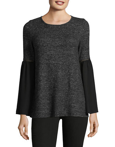 Design Lab Lord & Taylor Chiffon Bell-Sleeve Top-BLACK-Large