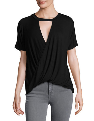 Design Lab Lord & Taylor Choker-Neck Wrap Top-BLACK-Small