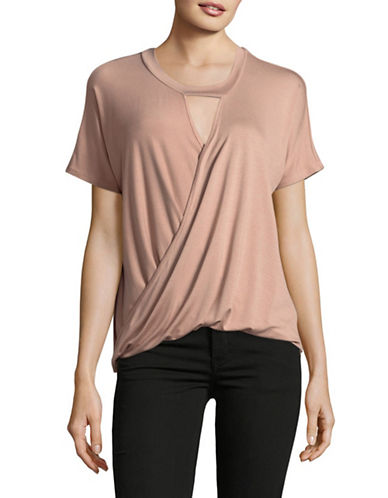 Design Lab Lord & Taylor Choker-Neck Wrap Top-COPPER-Medium