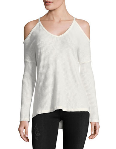 Design Lab Lord & Taylor Cold-Shoulder Knit Sweater-WHITE-Small