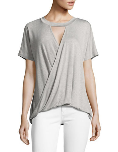 Design Lab Lord & Taylor Choker-Neck Wrap Top-HEATHER GREY-Large