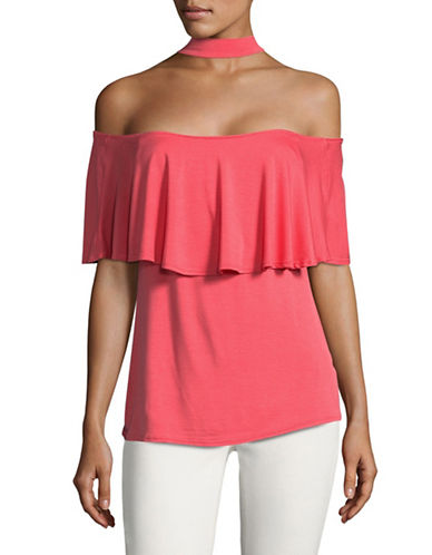 Design Lab Lord & Taylor Off-Shoulder Ruffle Choker Top-PINK-Small