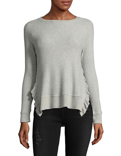 Design Lab Lord & Taylor Ruffle Side Slit Sweater-GREY-Large