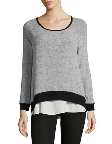 Design Lab Lord & Taylor Scoop Neck Knitted Top-BLACK-Medium