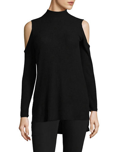 Design Lab Lord & Taylor Cold-Shoulder Sweater-BLACK-X-Small
