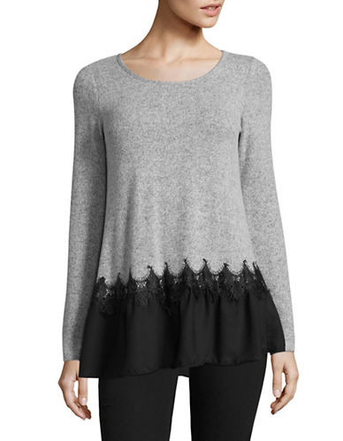 Design Lab Lord & Taylor Lace Insert Peplum Top-BLACK-X-Small