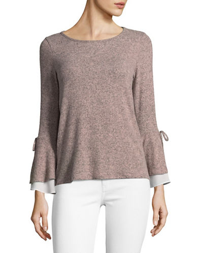 Design Lab Lord & Taylor Bell Tie Sleeve Top-PINK-Medium