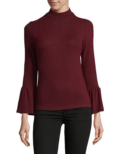 Design Lab Lord & Taylor Bell Cuff Sweater-RED-Small