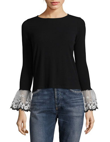 Design Lab Lord & Taylor Bell Sleeve Top-BLACK-Small