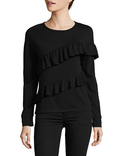 Design Lab Lord & Taylor Asymmetrical Ruffle Sweatshirt-BLACK-Medium