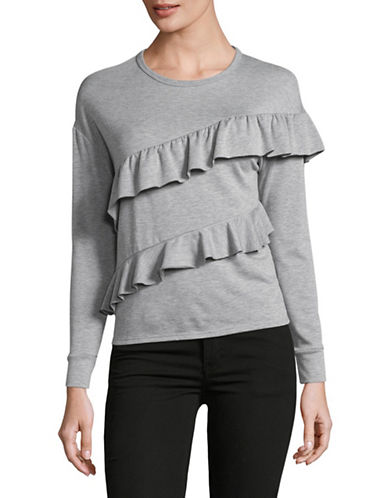 Design Lab Lord & Taylor Asymmetrical Ruffle Sweatshirt-GREY-X-Small
