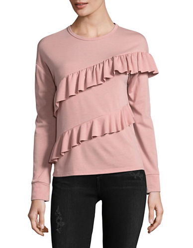 Design Lab Lord & Taylor Asymmetrical Ruffle Sweatshirt-PINK-Medium