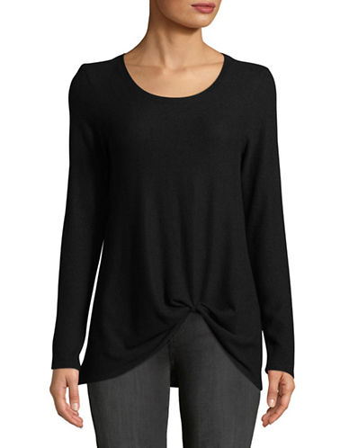 Design Lab Lord & Taylor Knot Front Long-Sleeve Top-BLACK-X-Small