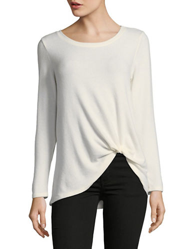 Design Lab Lord & Taylor Knot Front Long-Sleeve Top-WHITE-Large