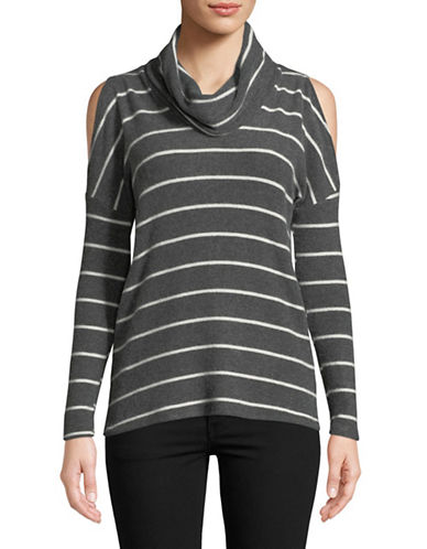 Design Lab Lord & Taylor Striped Cowl Neck Cold-Shoulder Top-GREY-X-Small