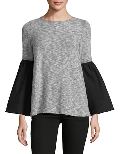 Design Lab Lord & Taylor Contrast Bell-Sleeve Top-GREY-Small