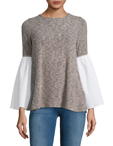 Design Lab Lord & Taylor Contrast Bell-Sleeve Top-BEIGE-X-Small