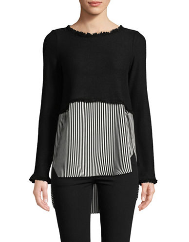 Design Lab Lord & Taylor Fringed Hi-Lo Top-BLACK-Small