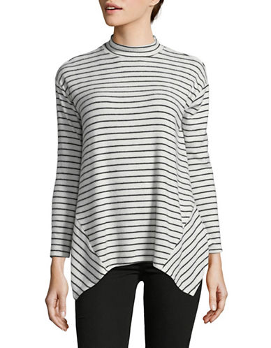 Design Lab Lord & Taylor Striped Sharkbite Hem Top-WHITE-X-Small