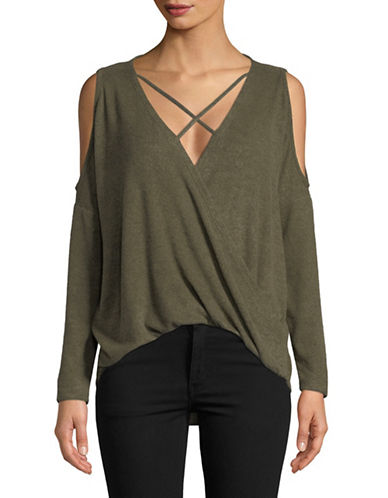 Design Lab Lord & Taylor Knit Surplice Top-GREEN-Large