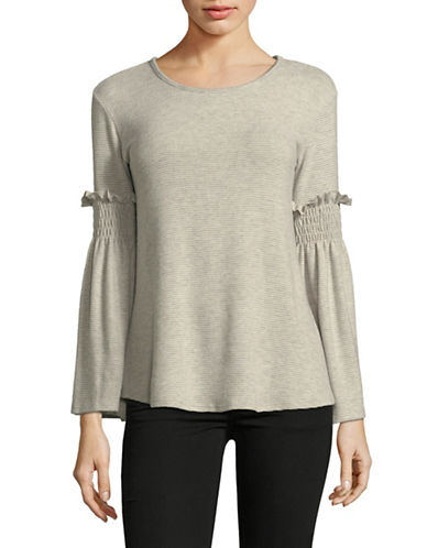 Design Lab Lord & Taylor Ruffle Bell-Sleeve Top-OATMEAL-X-Small