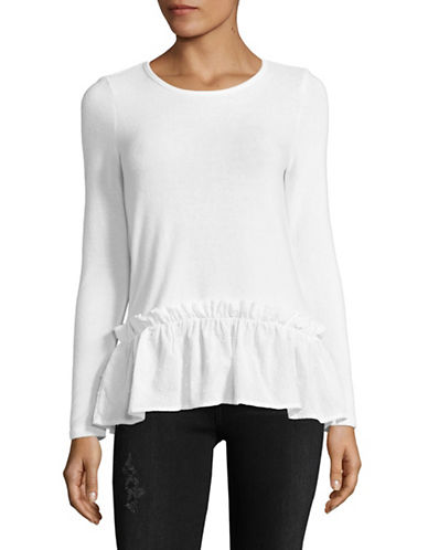 Design Lab Lord & Taylor Clip Dot Peplum Top-WHITE-Medium