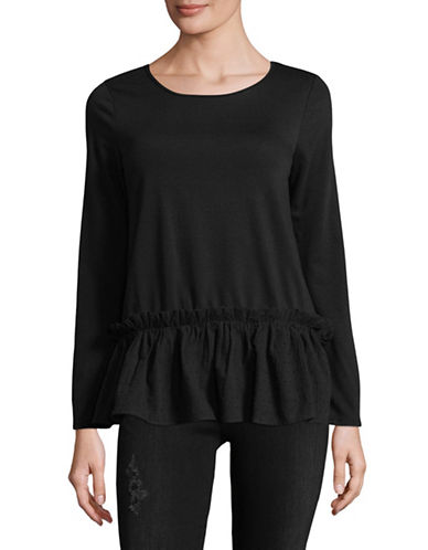 Design Lab Lord & Taylor Clip Dot Peplum Top-BLACK-Large