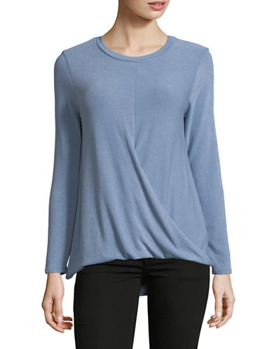 Design Lab Lord & Taylor Tuck Front Long-Sleeve Top-BLUE-Medium