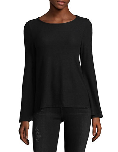 Design Lab Lord & Taylor Classic Bell-Sleeve Top-BLACK-Small