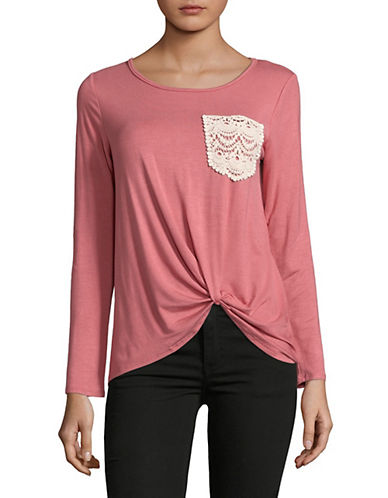 Design Lab Lord & Taylor Crochet Long-Sleeve Top-PINK-X-Small 90025081_PINK_X-Small