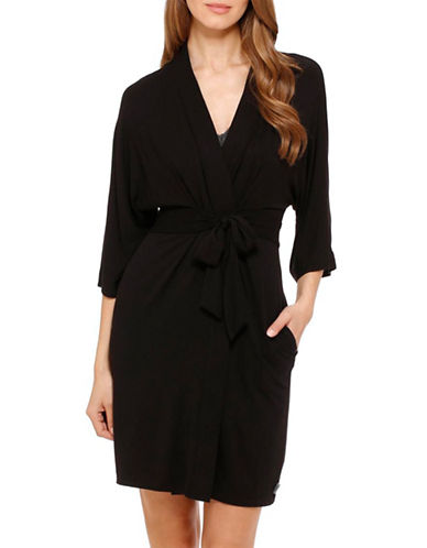 Dkny Seven Easy Pieces Short Wrap Robe-BLACK-Large