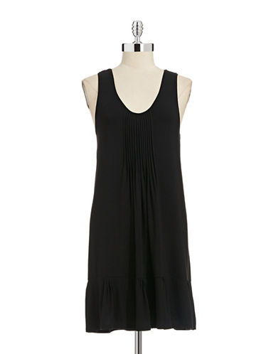 Dkny Pleated Sleeveless Chemise-BLACK-Medium