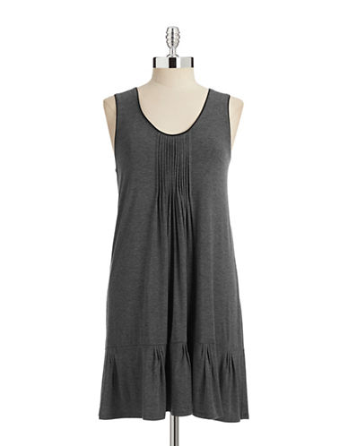 Dkny Pleated Sleeveless Chemise-CHARCOAL-Large
