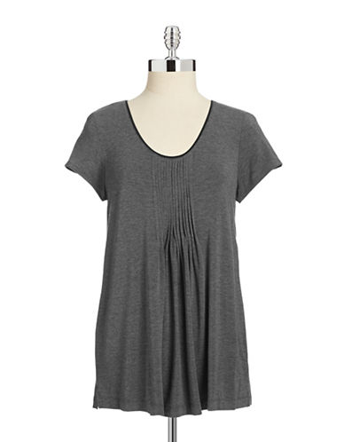 Dkny Seven Easy Pieces Shortsleeve Top-CHARCOAL-Large