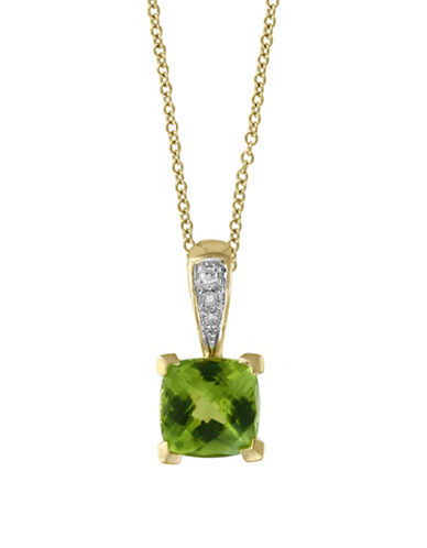 Effy 0.02 TCW Diamond, Peridot & 14K Yellow Gold Pendant Necklace-GREEN-One Size