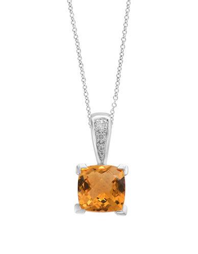 Effy 0.02 TCW Diamond, Citrine & 14K White Gold Pendant Necklace-ORANGE-One Size