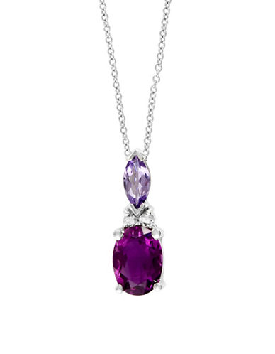 Effy 0.03 TCW Diamond, Amethyst, Tanzanite & 14K White Gold Pendant Necklace-PURPLE-One Size