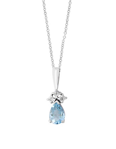 Effy 14K White Gold Aquamarine and 0.06TCW Diamond Necklace-BLUE-One Size