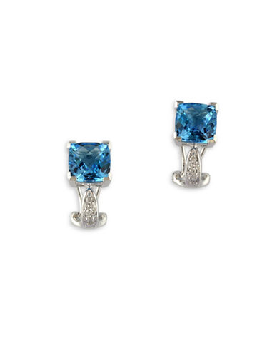 Effy 14K White Gold, Blue Topaz Square Drop with 0.05TCW Diamond Earrings-BLUE-One Size